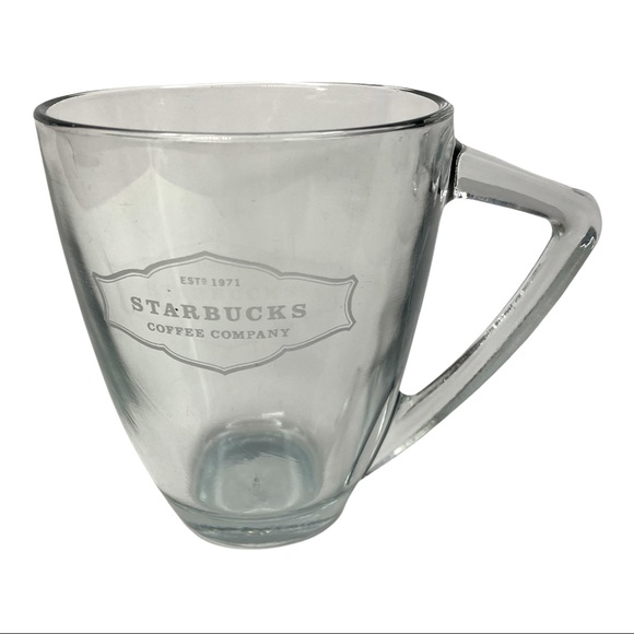 Starbucks est. 1971 Clear Glass Etched Mug 12oz